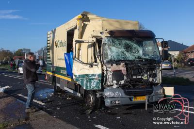 28-04-2016 Kop-staart botsing tussen twee vrachtwagens op de N310 Zuiderzeestraatweg Doornspijk - ©NWVFoto.nl