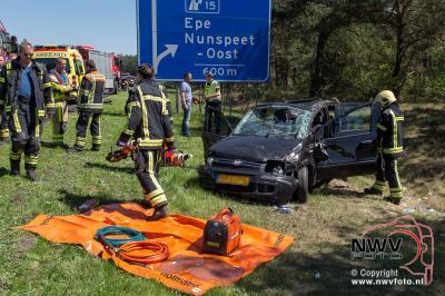 Eenzijdig ongeval met letsel A28 Re 65.1 Nunspeet 08-05-2016 - ©NWVFoto.nl
