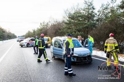 Kopstaart botsing met drie auto's A28  Re 77.1 Oldebroek - ©NWVFoto.nl
