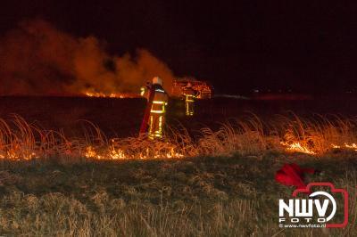 Rietkraag brand Driemerkenweg Oosterwolde. - ©NWVFoto.nl
