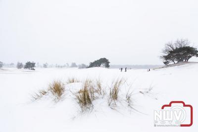 Mensen vergeten even corona door heerlijk te wandelen en te sleeën in de omgeving van 't Harde. - ©NWVFoto.nl